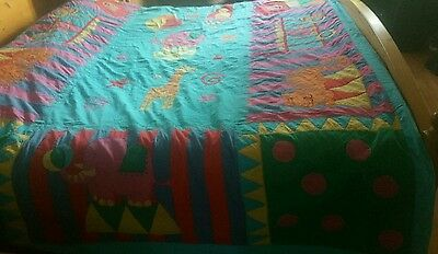 Colourful Patchwork  Quilt Bedspread Multicolour  Hand Stitched Sewn Vintage