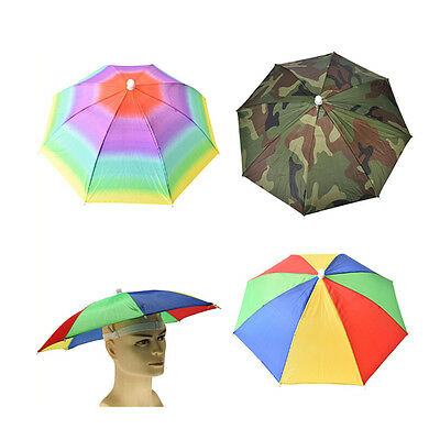 Umbrella Hat Cap Head Fishing Camping Hiking Sun Shade Outdoor Brolly Foldable h
