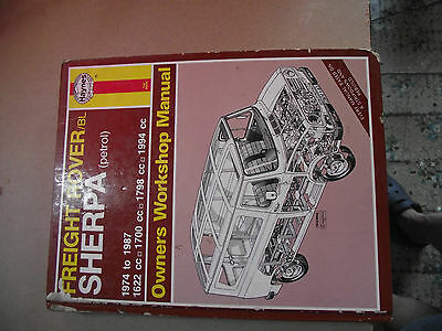 Haynes workshop manual. Freight Rover Sherpa. Petrol. 1974 to 1987.