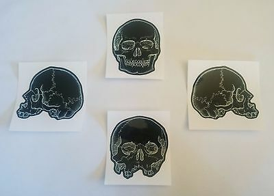 Skull Sticker - Set of 4 gloss cut out stickers. Gothic. Skulls. Heavy Metal.