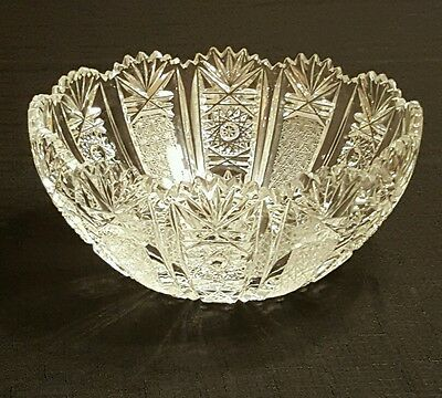 Stunning American Brilliant Cut Glass  8 X 4 Bowl Rare