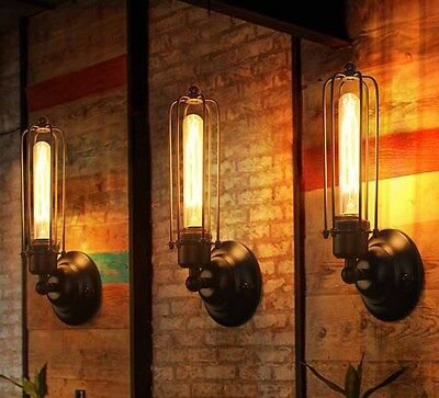 Industrial LED Black Cage Vintage Retro Chandelier Wall Light Ceiling Fitting