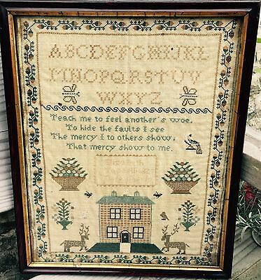 Beautiful   House and Reindeer Spot  Motif Sampler. Tassell 1827