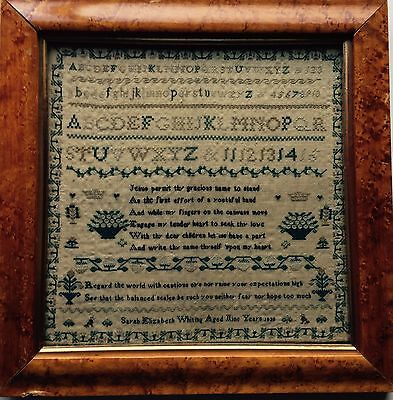 Beautiful 19thc Antique sampler Whiting 1839