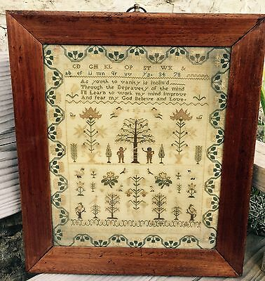 Beautiful Antique Spot Motif  Tree of Life Sampler Cornford 1830.