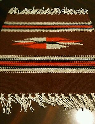 Hand Woven 100% Wool Textile Chimayo Weaving  14 1/2 X 15 Brown Made in N.M