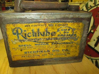Early Original Richlube  Motor Oil Two Quart Can Metal