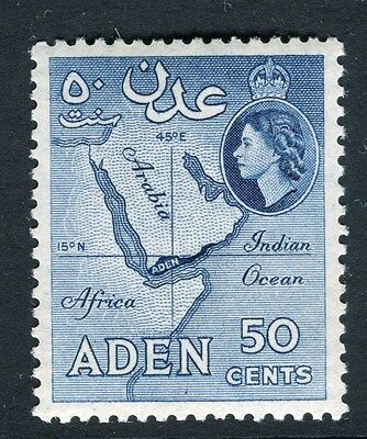 ADEN;  1953 early QEII issue fine Mint hinged 50c. value