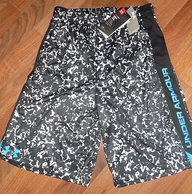 UNDER ARMOUR Boys XL Loose Black White Blue Basketball Athletic Shorts NEW NWT