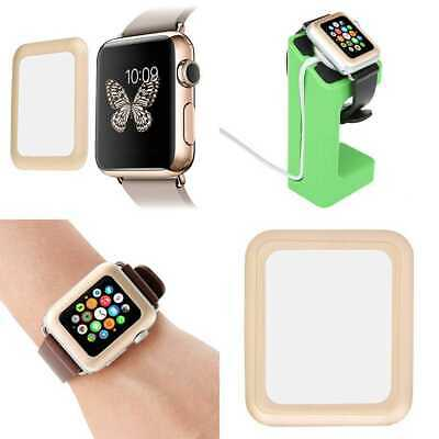 GOLD BEZEL TEMPERED GLASS Screen Protector Film For iWatch 42MM APPLE WATCH 1