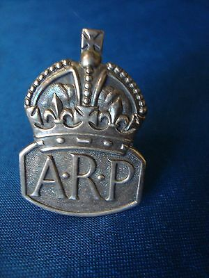 A Vintage Silver Second World War A.r.p. Pin Badge.