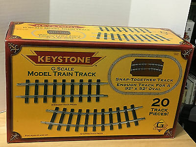 """Keystone G Scale Model Train Track 20 Snap-Together Pieces 92"""" x 52"""" Oval"""