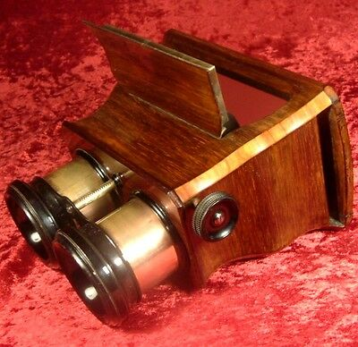 ANTIQUE c1860 STEREO VIEWER STEREOSCOPE serpentine ogee body ROSEWOOD tulip wood