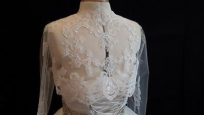 ivory bridal wedding lace Bolero cover up / bridal lace tulle shrug coat M size