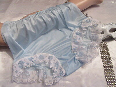 Vtg Sissy Nylon Panties Knickers Baby Blue With Lace And Satin Bow