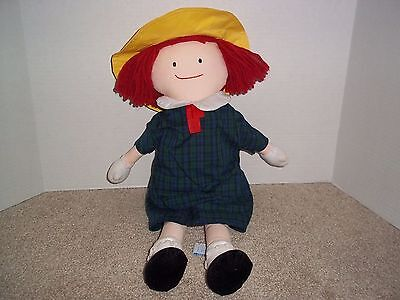 """Madeleine 18"""" Plush Cloth Doll Plaid Dress by Eden 1990 Book Character"""