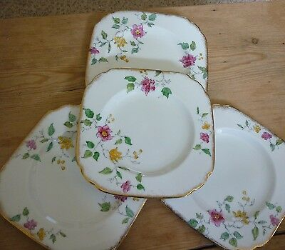 Plant Tuscan Hand Painted Flowers Tea Plates X 4