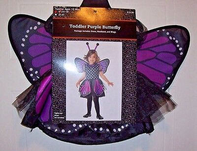 Infant / Toddler's Purple Butterfly Costume - Dress, Headband, Wings - 12-18Mos.