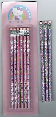 Set of 9 HELLO KITTY Sanrio Pencils NEW pack Shiny Prism