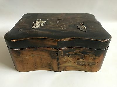 A Vintage Antique Chinese Oriental Lacquered Box