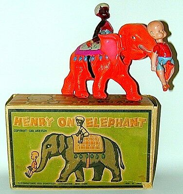 Henry On Elephant Celluloid Wind-up Original Box Japan 1934 Comic Character Toy