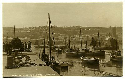ST. IVES, Cornwall, 'By The Quayside', Fishing Boats, Real Photo by Judge's