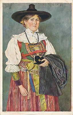 POSTCARD  ETNIC  GERMANY  GRODEN   Lady  National  Dress