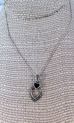 """Petite Sterling silver & Marcasites heart chain necklace with black enamel 18"""" L"""