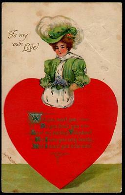 Valentine Postcard 1908 - Woman With Heart Body - To My Own Love
