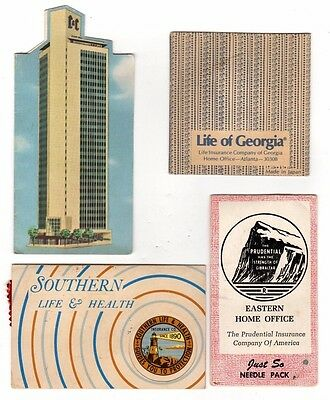 4 Life Insurance Advertising,Needle Case / Books (Prudential,Southern,Etc)