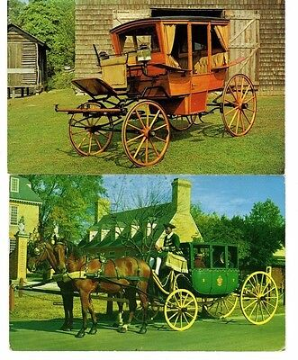 4 Horse Drawn Carriages / Coronation Coach / Tally Ho, Postcards