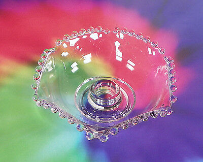 Imperial Candlewick Beaded Flower Candleholder Bowl Shape Crystal Clear Glass