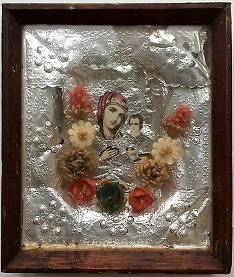 VIRGIN MARY - ANTIQUE OLD RUSSIAN ICON ON PHOTO (KIOT) 275mm x 240mm