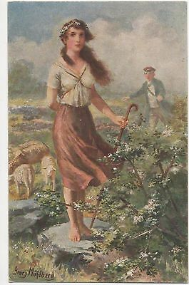 POSTCARD  GLAMOUR   Girl with Sheep
