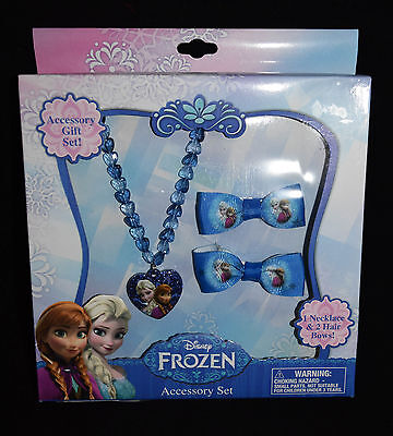 Jewelry Accessory Gift Disney Frozen Elsa Anna New Hair Clips Bows Necklace  RVP