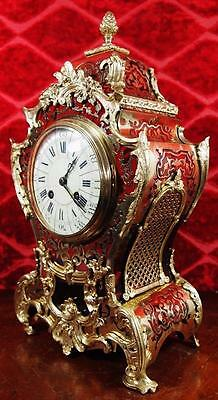 Antique 19thc French Boulle & gilt bronze Roccoco 8 day striking Mantle Clock