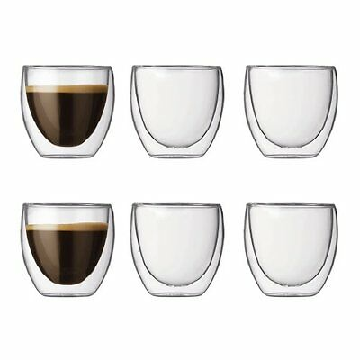 Bodum PAVINA Glass Set (DoubleWalled Isolated 0.08 L3 oz)  Pack of 6 Transparent