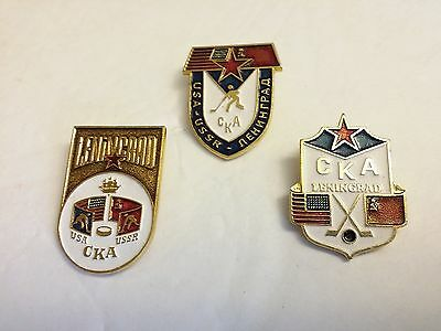 Soviet Russian American 1980 Miracle on Ice Olympic Hockey Athletes Badges