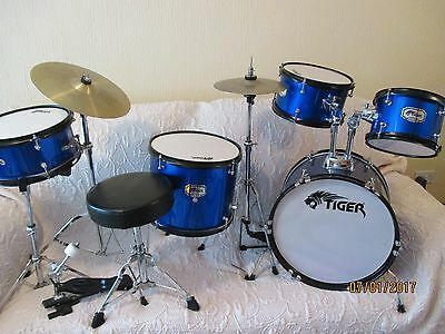 Tiger 5 Piece Drum Set with Padded Stool Great Starter Kit