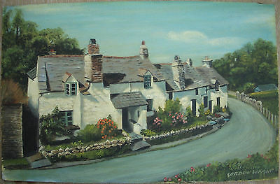 Original Signed Oil Painting White Row of Cottages Boscastle Cornwall Art