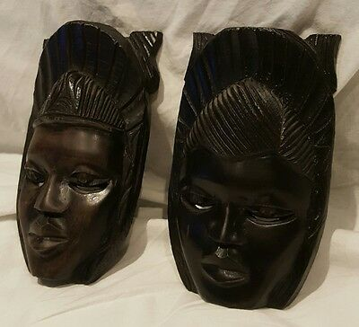 Hand Carved Pair Of Wooden African Masks Tribal Art / Decoration 6 Inches High