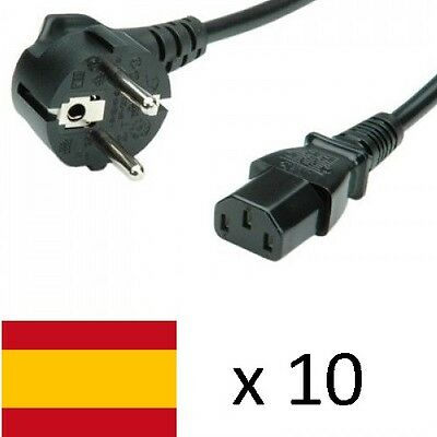 Lote Cables 10 x Alimentacion Schuko to iEC C13 3 Pin 3A 1.8M cable 0.75mm