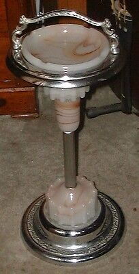 Gorgeous 1940's art deco chrome floor ashtray !