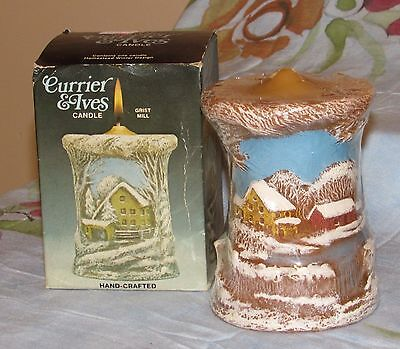 Vtg Currier & Ives Hand Crafted Candle Homestead Winter 1979 Still Sealed
