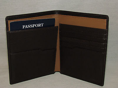 Tumi Sierra Brown Pebbled Leather Passport Case Cover BiFold Wallet Men's Womens