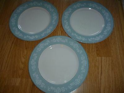Three Staffordshire Ironside W.H.Grindley & Co England Satin White Dinner Plates