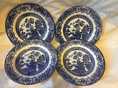 English Ironstone porcelain Old Willow B & W porcelain 4 plates