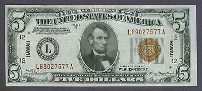 $5 1934A BEAUTIFUL XF+ HAWAII San Francisco Federal Reserve Note!