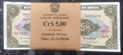 BRICK of 500 BRAZIL PICK # 176a of 1962 with AWESOME SERIALS # 007700 & 007777 +