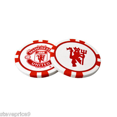 Manchester United Fc 2 Poker Chip Golf Ball Markers In Gift Set